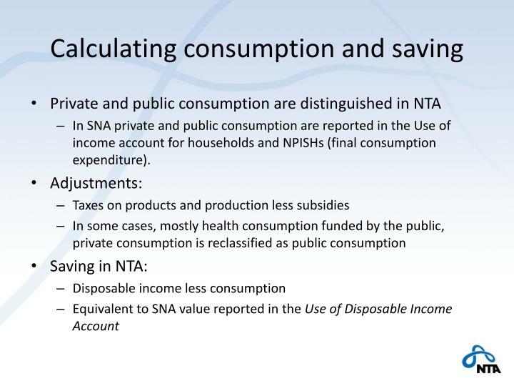 Calculating consumption and saving
