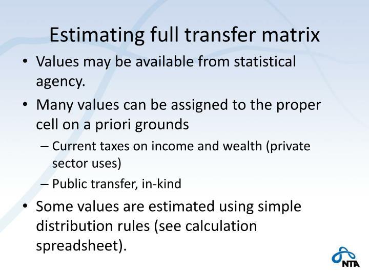 Estimating full transfer matrix