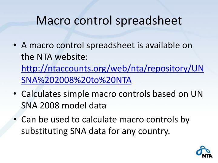 Macro control spreadsheet