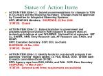 status of action items