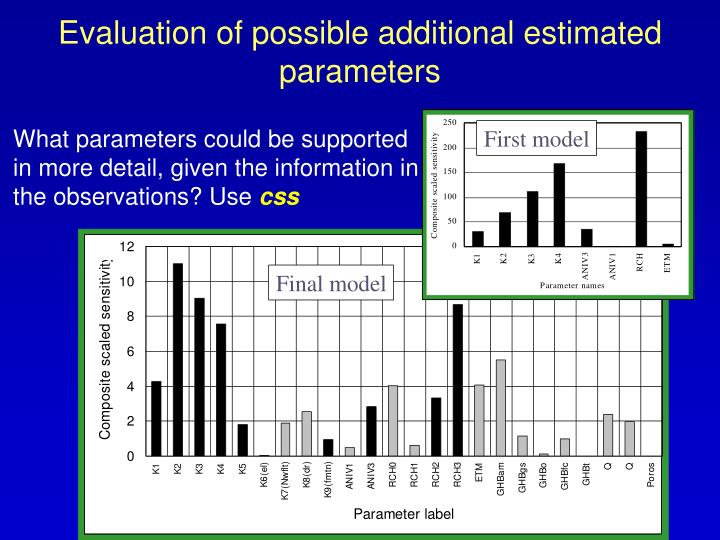 Evaluation of possible additional estimated parameters