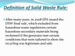 definition of solid waste rule