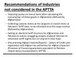 recommendations of industries not considered in the aptta