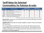 tariff rates for selected commodities for pakistan india