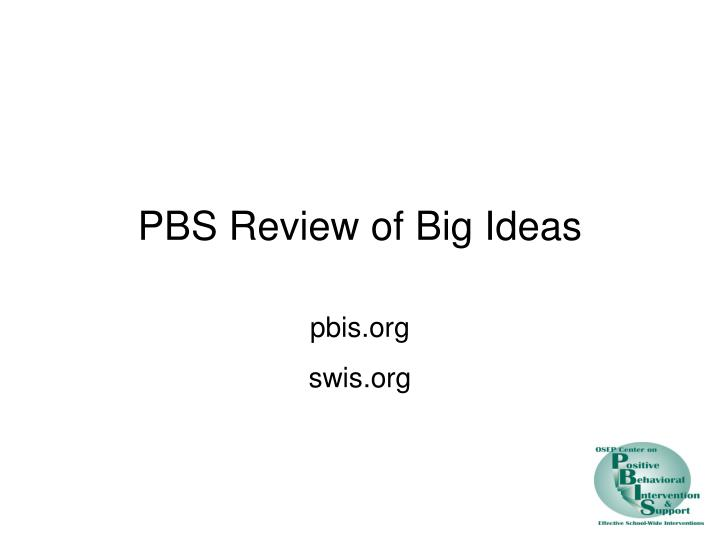 pbs review of big ideas n.