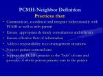 pcmh neighbor definition practices that