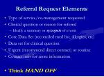 referral request elements