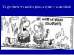 to get there we need a plan a system a standard