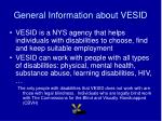 general information about vesid