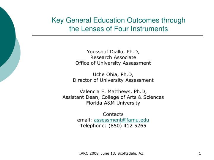 key general education outcomes through the lenses of four instruments n.