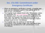 sec 17a 502 commitment under emergency certificate1