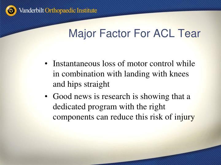 Major factor for acl tear