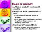 blocks to creativity
