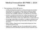 medical innovation bill pmb 1 2014 purpose