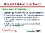 how is r d done in pet foods