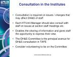 consultation in the institutes