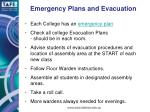 emergency plans and evacuation