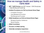 how we manage health and safety in tafe nsw