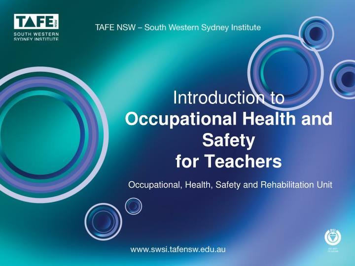 introduction to occupational health and safety for teachers n.
