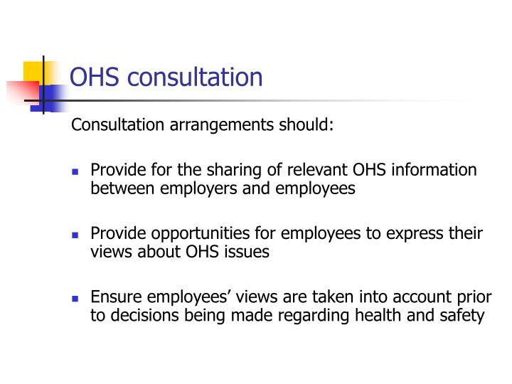 OHS consultation