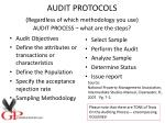 audit protocols regardless of which methodology you use audit process what are the steps