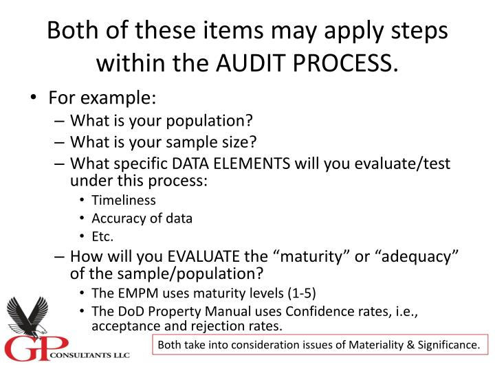Both of these items may apply steps within the AUDIT PROCESS.