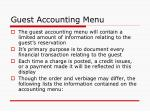 guest accounting menu