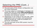selecting the pms cont1