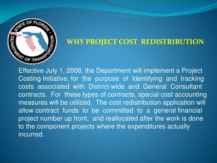 Why project cost redistribution