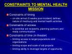 constraints to mental health mission