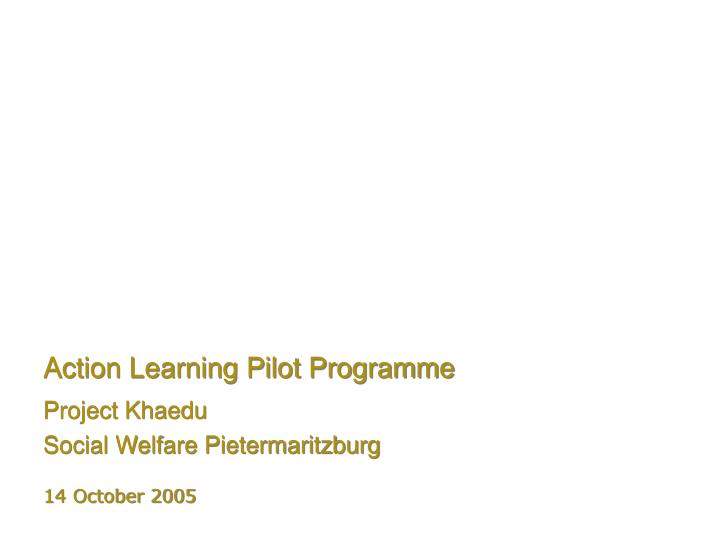 action learning pilot programme n.