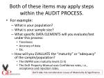 both of these items may apply steps within the audit process