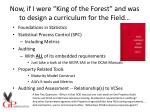 now if i were king of the forest and was to design a curriculum for the field