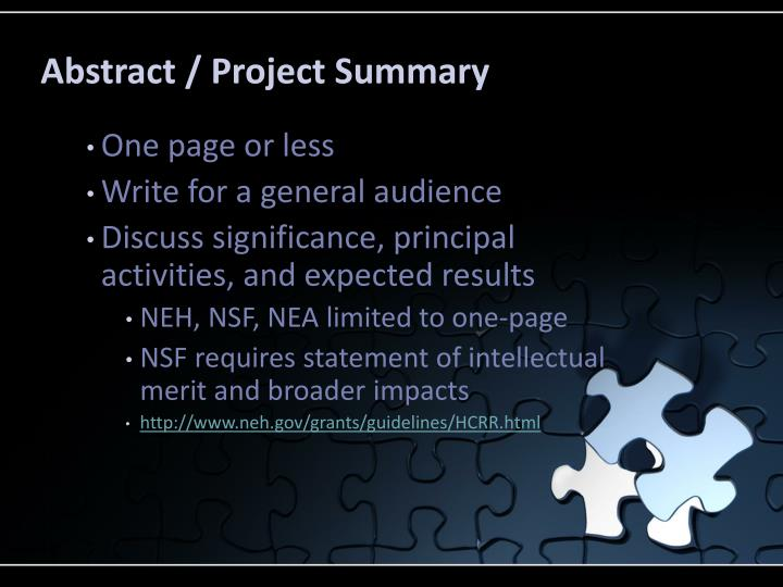 Abstract / Project Summary