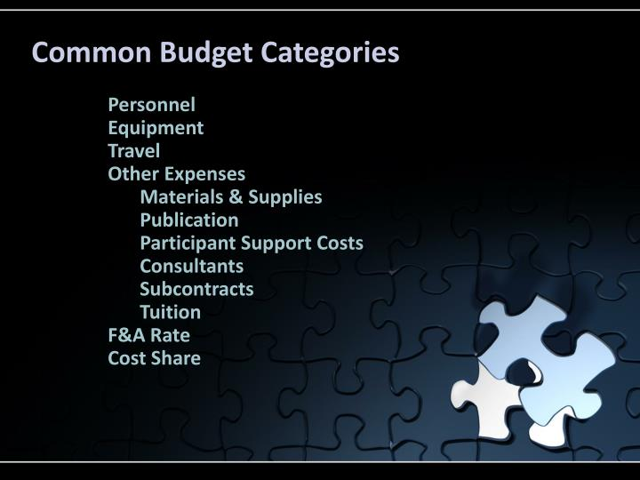 Common Budget Categories