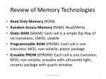 review of memory technologies