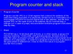 program counter and stack