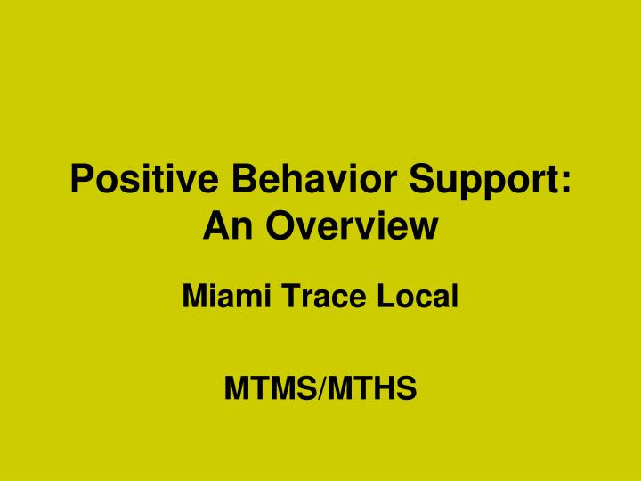 positive behavior support an overview n.