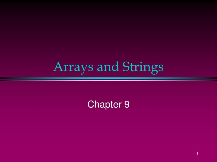 arrays and strings n.