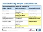 demonstrating npqml competencies