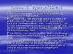 article 10 types of credit