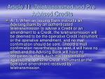 article 11 teletransmitted and pre advised credits
