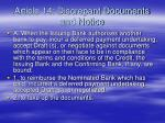 article 14 discrepant documents and notice