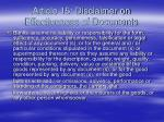 article 15 disclaimer on effectiveness of documents