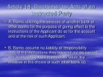 article 18 disclaimer for acts of an instructed party