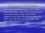 article 22 issuance date of documents v credit date