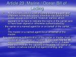 article 23 marine ocean bill of lading