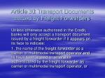 article 30 transport documents issued by freight forwarders