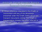 article 33 freight payable prepaid transport documents