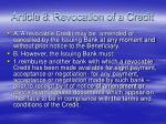 article 8 revocation of a credit